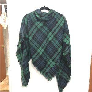 Multicolor Scarf/Wrap - Green Black Blue